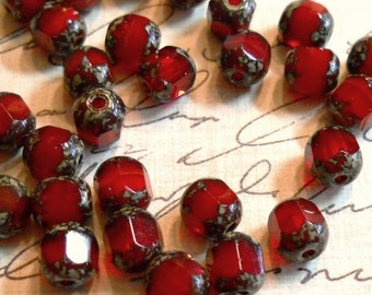 Ruby Opal   Picasso Cathedral tube beads Czech glass    6mm    25 beads  Item 2036
