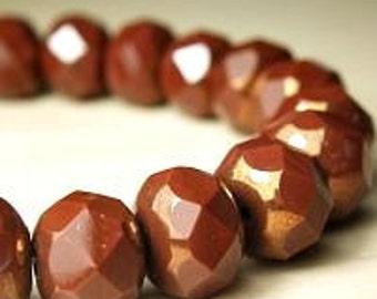 Chestnut brown Czech premium glass rondelle beads 8x6mm 15 beads  Item 1148