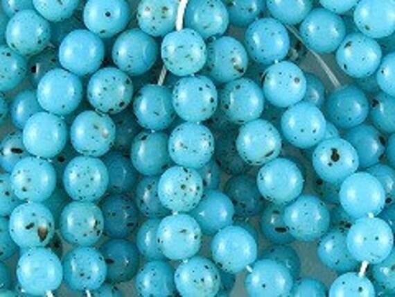 Czech glass    Aqua speckled Czech glass beads 25 beads  6mm  Item 1489