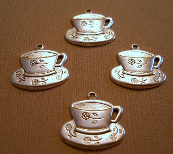Silver plated cup and saucer charms USA made Item 1889