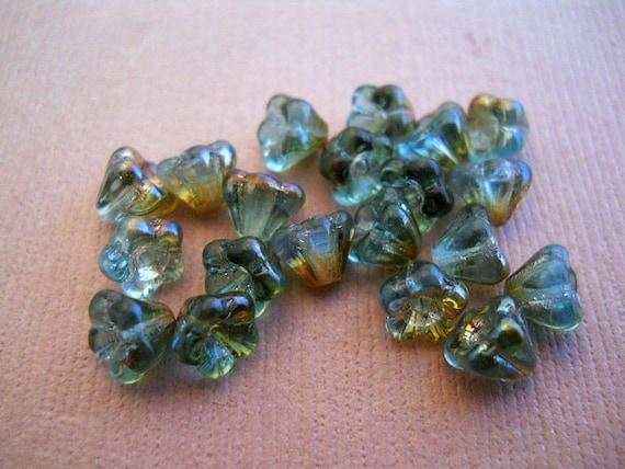 Czech glass Aqua Celsian Baby Bellflowers 24 pcs 4x6mm  Item 1153