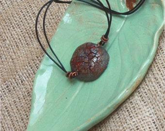 SALE. Raku Ceramic Necklace. Wearable Art. THIRSTY SOIL. Leather Necklace. Nature Inspired Necklace.  Copper Raku Pendant.
