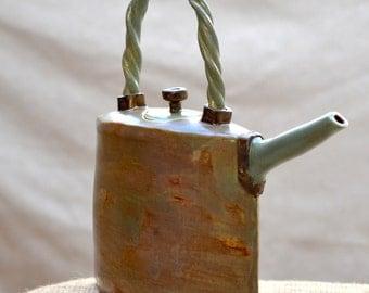 Ceramic Teapot. Stoneware Sculptural Ceramic Teapot. Sage Brown Cottage Chic Teapot. Ceramic Art. Hand Built Ceramics. Ceramic Pottery.