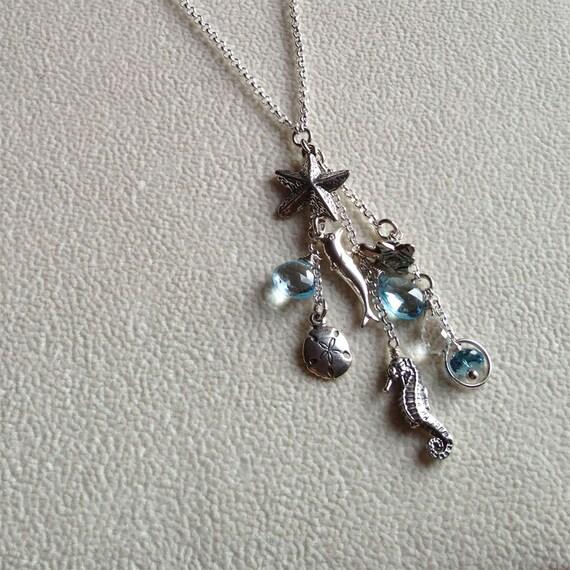 Blue Topaz Charm Pendant Necklace
