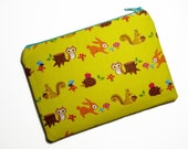 Little forest critter pouch in yellow