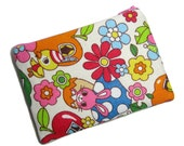Retro animal zippered pouch - ooak