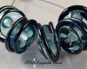 5 Aqua and Silver Plum 7 x 12 mm Swirl ROA Lampwork Glass Handmade Beads SRA