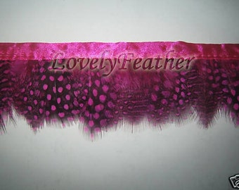 Guinea hen feather fringe hot pink color 10 yards trim