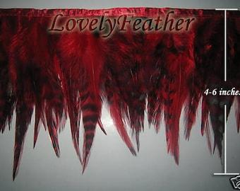 Saddle hackle feather fringe red chinchila 2 yards trim