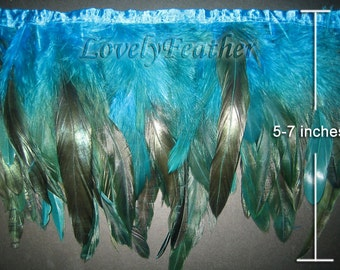 Coque feather fringe of turquoise irridescent 2 yards trim