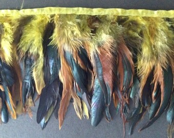 Coque feather fringe of yellow irridescent 1 feet trim