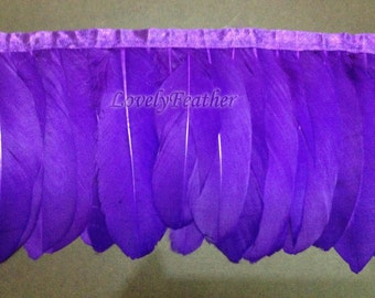 Goose feather fringe of purple color 2 yards trim