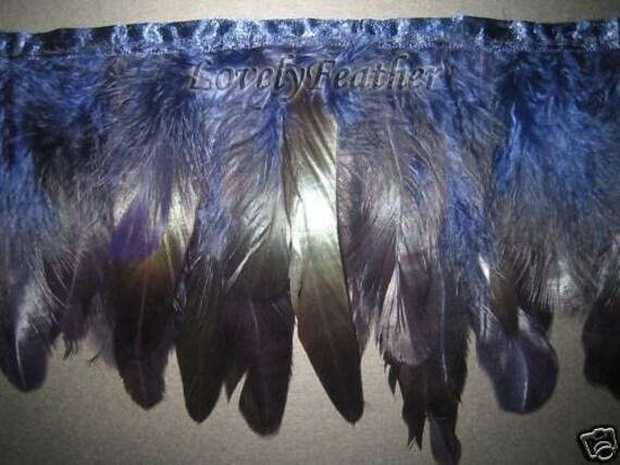 Coque feather fringe of navy irridescent 1 yards trim