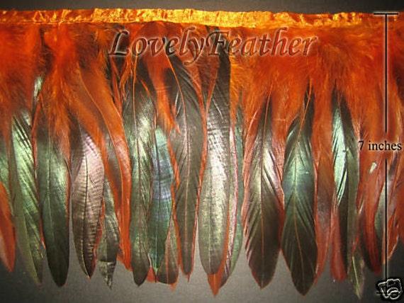 Coque feather fringe orange irridescent 2 yds trim