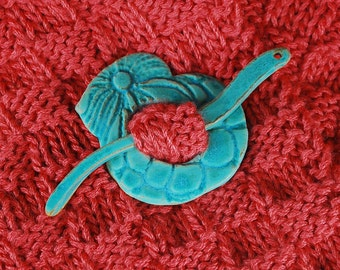 Ceramic Shawl Pin in Turquoise / Aqua Glaze / Ceramic Jewelry / Accessories in Stoneware Clay