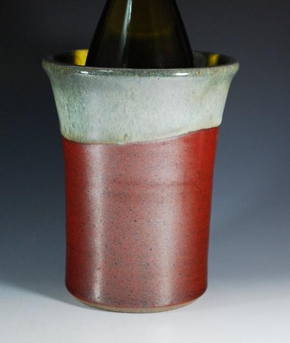 Wine Chiller--Utensil Holder--Vase--Wheel Thrown Stoneware--in Persimmon/Jade Green
