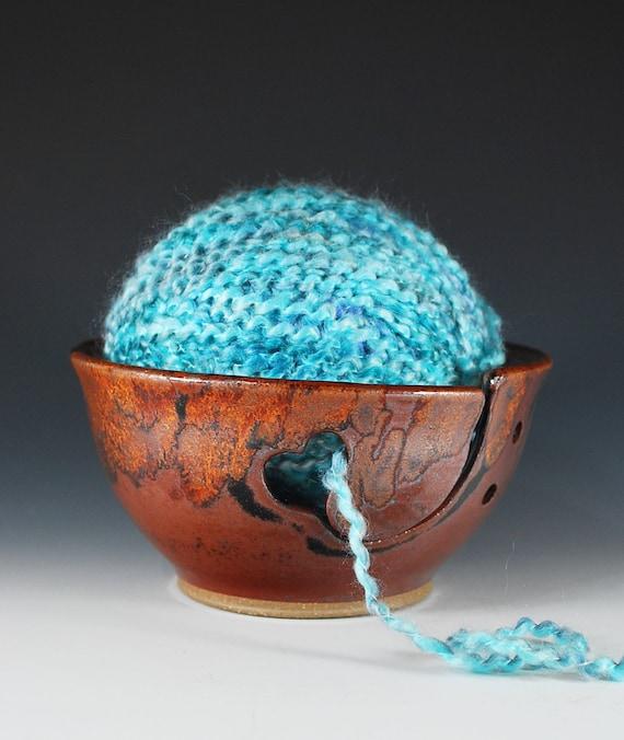 Heart Yarn Bowl - Knitting Bowl with Heart Design in Copper Lava Glaze - Wheel Thrown Stoneware Clay