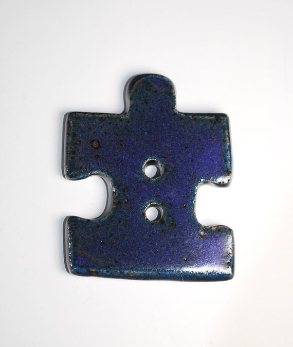 Ceramic Button / Puzzle Piece Shape in Purple Glaze / Puzzle Piece Button / Handmade in Stoneware Clay