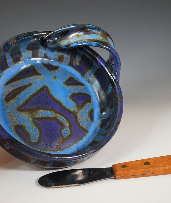 Brie Baker / Dip Dish with Spreader in Purple Rain Glaze / Wheel Thrown Stoneware Clay