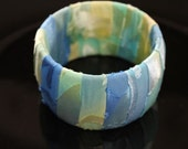 Shades of Blue and Green Burnout Silk Wrap Bangle