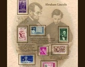 ABRAHAM LINCOLN US Stamps and Quotations Artwork GR8 Gift