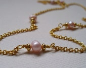 LAST CHANCE SALE - Gold and pink necklace