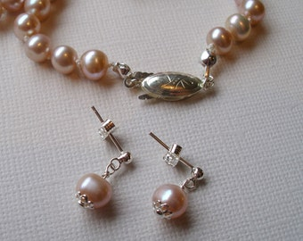 Hand knotted pearl necklace - Light pink pearls, plus free earrings