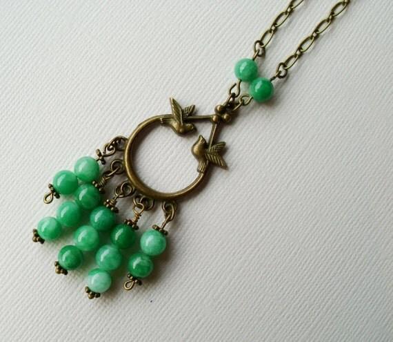 Love bird necklace with geen jade