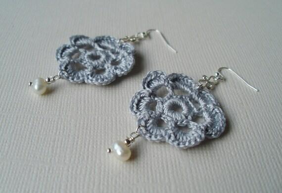 Medium rose earrings, sterling silver.
