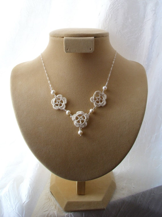 Three blooms, crochet necklace, sterling silver