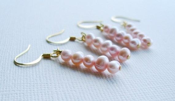 Simplicity. Light pink pearl earrings