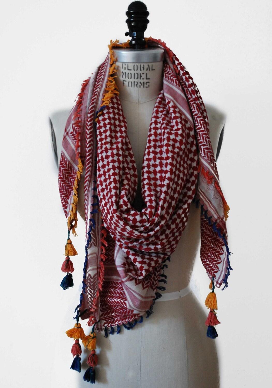 vintage fringe and tassel scarf keffiyeh