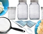 BASIC Live Milk & Water Kefir Grains COMBO Kit- Strainers, Jars, Recipes, PICTURE Guide