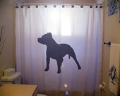 Pitbull Shower Curtain Dog bathroom kids bath decor pit bull black puppy dogs pet novelty