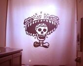 Mexican Folk Art Shower Curtain Skull Bathroom Decor Kids bath Sombrero Mexico Horror Funny Scary Hat Skeleton