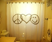 Peace Love Happiness Shower Curtain Peace Sign Love Heart Smiley Face inspirational motivational inspiring kids bathroom bath decor