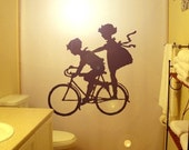 Children Bicycle Shower Curtain Kids Boy Girl shared bathroom bath Child Brother Sister Friends Siblings Bicycling Cycling