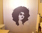 Sexy Retro Afro Girl Shower Curtain Grunge Exotic Punk African Woman in Sunglasses pin up bathroom kids bath decor