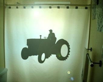 Farming Tractor Shower Curtain Farm Vehicle bathroom bath decor farmer kids Machine Agriculture Machinery wagons ploughs truck