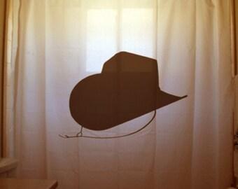Cowgirl Cowboy Hat Shower Curtain Bathroom Decor Western theme Kids bath horse rider strap