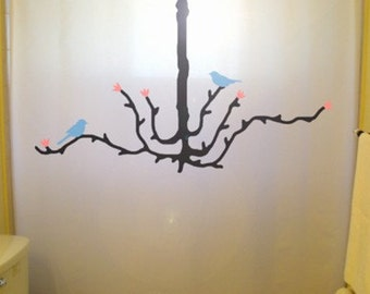 Tree Chandelier Shower Curtain Birds Blue Bathroom Decor Branch Kids Bath BlueBird Pink Cherry blossoms can be Any color
