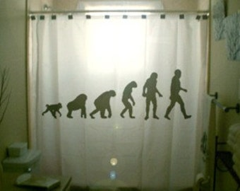 Theory of Evolution Shower Curtain Bathroom Decor Kids Bath Charles Darwin Man Ape Gorilla unique