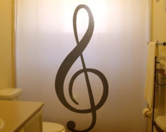 Treble Clef Shower Curtain music note bathroom decor kids bath musical staff pitch name custom unique