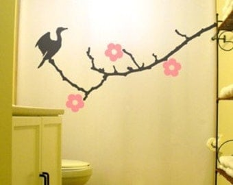 cherry blossoms shower curtain cormorant bird tree bathroom decor kids bath branch nature flowers birds flowers