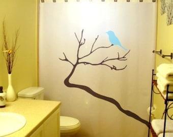 Blue Bird Shower Curtain Tree Bathroom Decor Kids Bath Branch BlueBirds winter tree Deer Head Antlers Bird can be any color