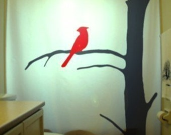 red cardinal shower curtain bird tree bathroom decor
