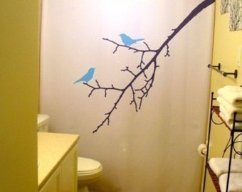 blue birds shower curtain tree branch bathroom decor bath kids nature bluebird lovebirds blossoms bird can
