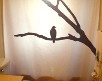 Tree Crow Shower Curtain raven bathroom kids bath decor hawk eagle branch Bird can be any color