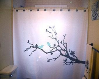 Blue Birds Shower Curtain Tree Branch Bathroom Decor