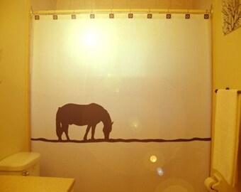 Lonely Horse Shower Curtain Western theme bathroom decor kids bath zebra meadow sunset hill